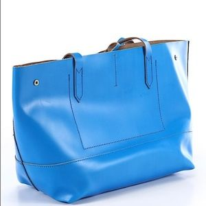 J.Crew tote azure blue leather